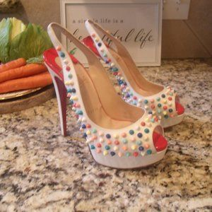 Christian Louboutin Multicolor Spikes Lady Peep